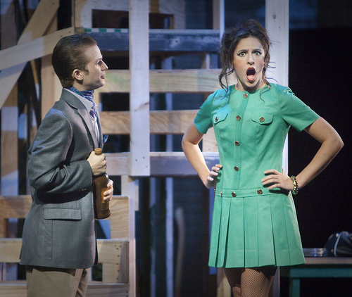 An actress portrays outrage at an actor's words in the play Noises Off