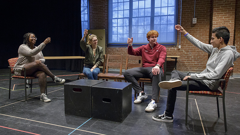Rehearsal for 2018 production of Disgraced
